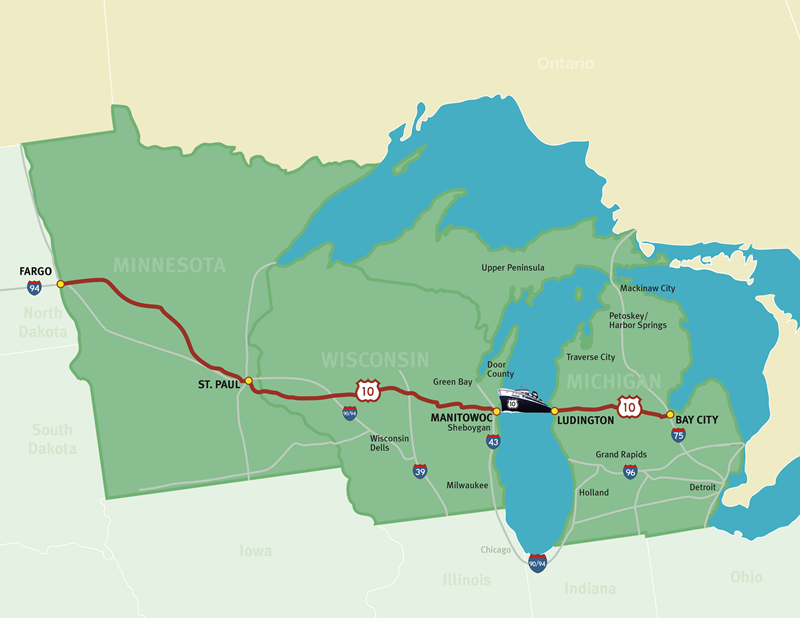 Us 10 Designation Ss Badger - Lake-michigan-us-map